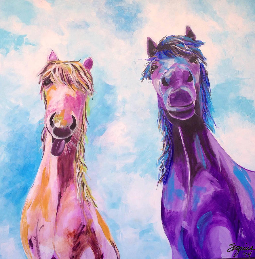 Purple Horse Painting - Horses Of A Different Color by Suzaine Smith