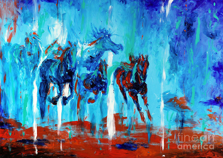 Biblical Paintings Painting - Horses Of Jeremaih by Lidija Ivanek - SiLa