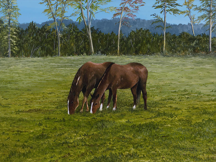 Landscape Painting - Horses Of Romance by Mary Ann King
