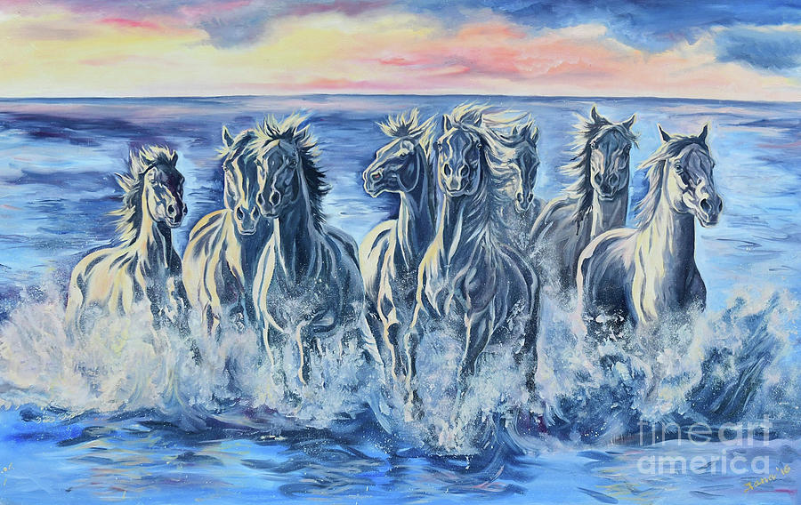 Horses Painting - Horses Of The Sea by Jana Goode