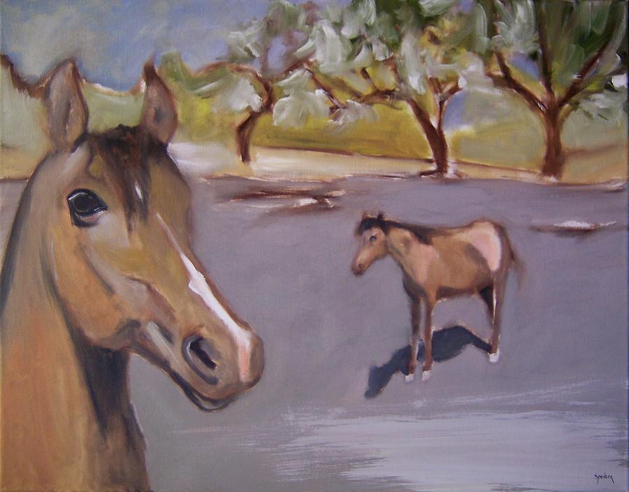 Horses On Gray Painting by Scott Spencer