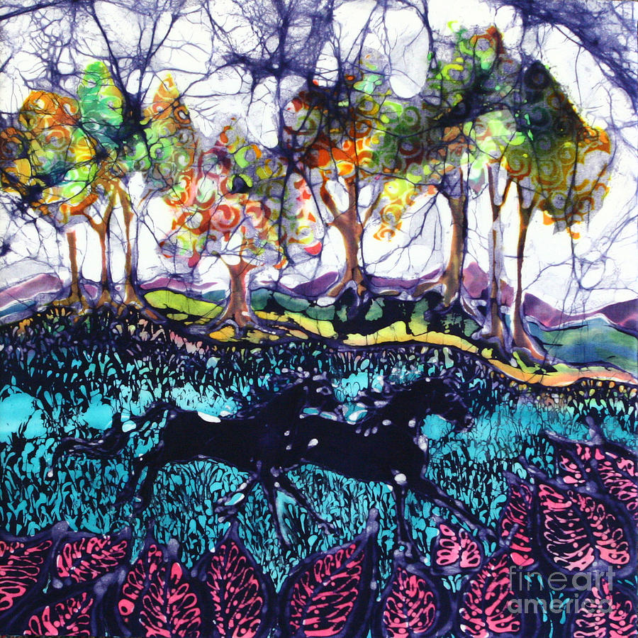 Batik. Horse Tapestry - Textile - Horses Running Below Hills by Carol  Law Conklin