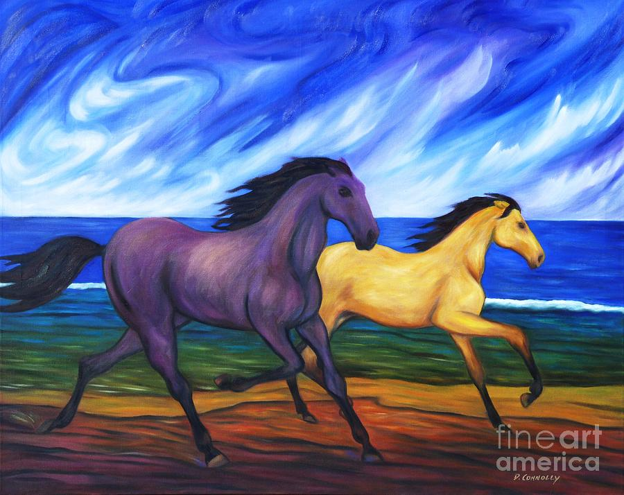 Horses running on the beach painting by dianne connolly animals painting horses running on the beach by dianne connolly sciox Choice Image