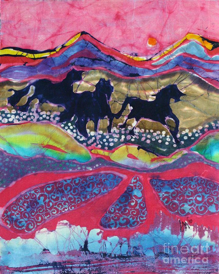 Batik Tapestry - Textile - Horses Running Thru A Stream by Carol  Law Conklin