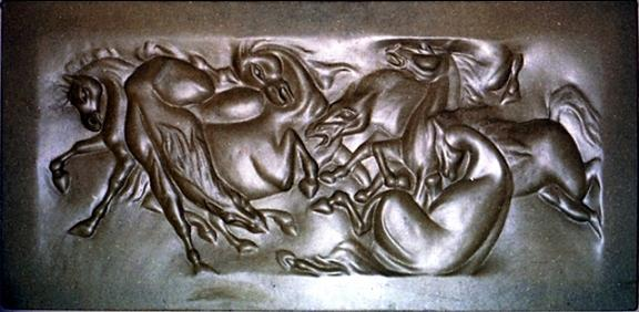Horses Struggle Black Relief by Wall sculpture artist Ahmed Shalaby