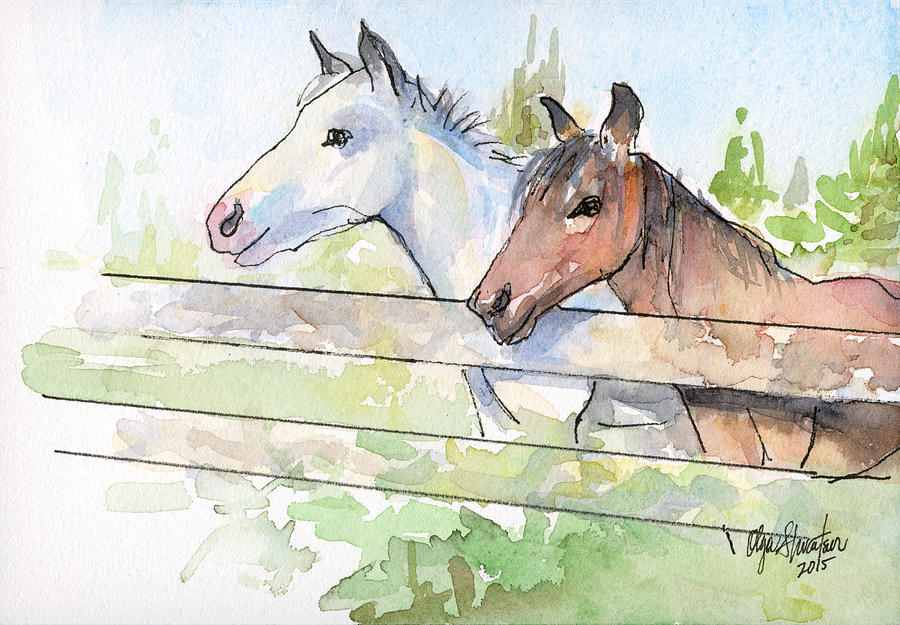 Watercolor Painting - Horses Watercolor Sketch by Olga Shvartsur