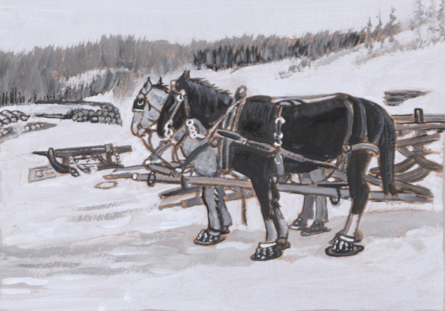 Historical Painting - Horses Wearing Snowshoes Historical Vignette by Dawn Senior-Trask