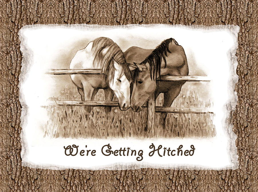 wedding invitation drawing horses western wedding invitation getting hitched by joyce geleynse