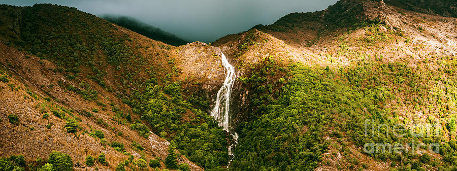 Panorama Photograph - Horsetail Falls In Queenstown Tasmania by Jorgo Photography - Wall Art Gallery