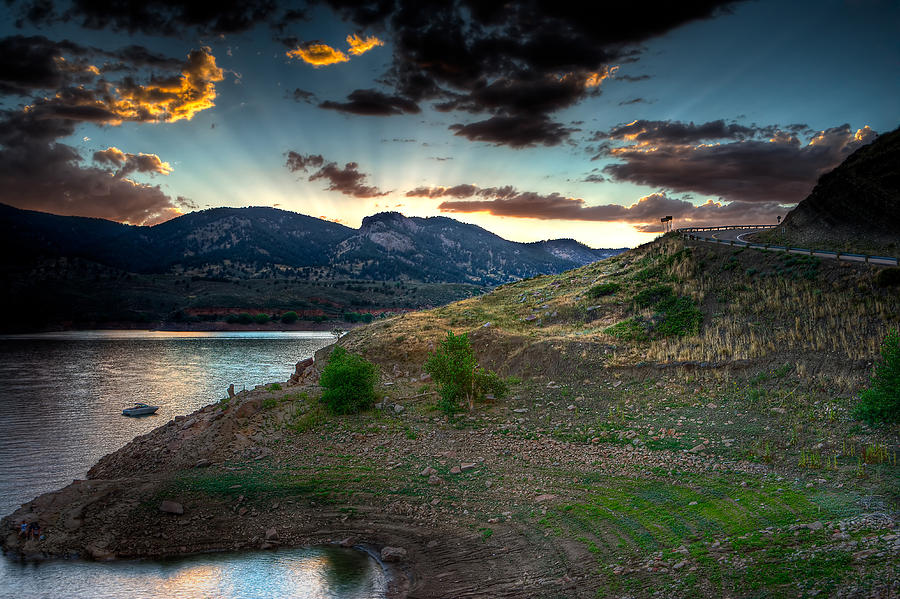 Sunset Photograph - Horsetooth Reservior At Sunset by James O Thompson