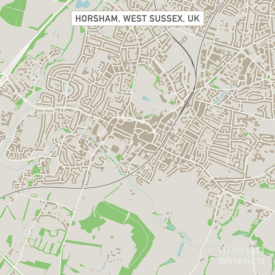 Horsham West Sussex Uk City Street Map Digital Art By Frank Ramspott