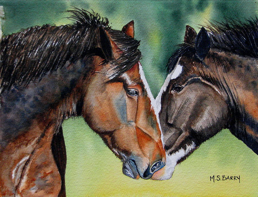 Two Horses Painting - Horsing Around by Maria Barry