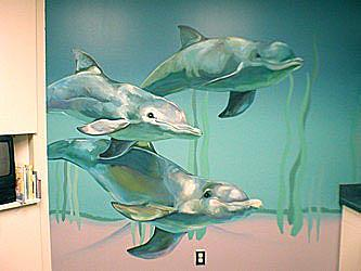 Hospital Underwater Dolphins Painting by Mural Environments