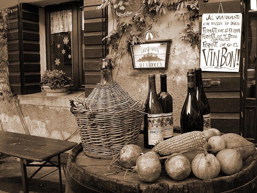 Sepia Photograph - Hostaria Alla Rocca by Donna Corless
