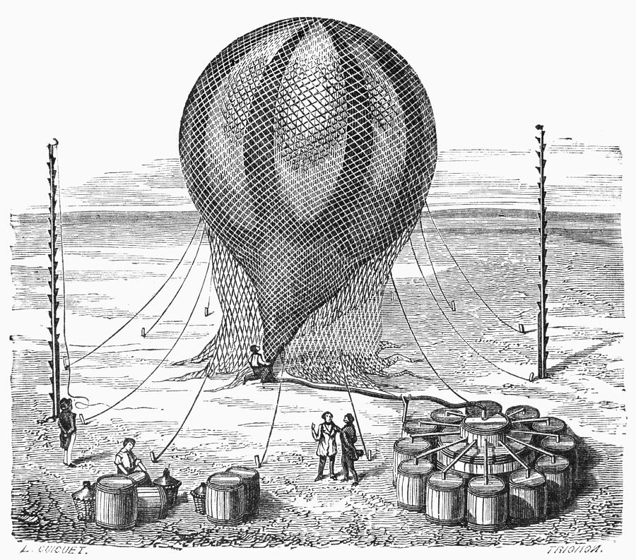 19th Century Photograph - Hot Air Balloon Inflation by Granger