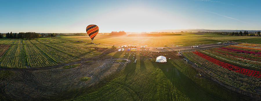 Travel Photograph - Hot Air Balloon Taking Off At Sunrise by William Freebilly photography