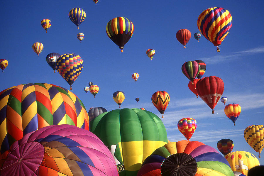 Hot Air Balloon Photograph - Beautiful Balloons On Blue Sky - Color Photo by Peter Potter