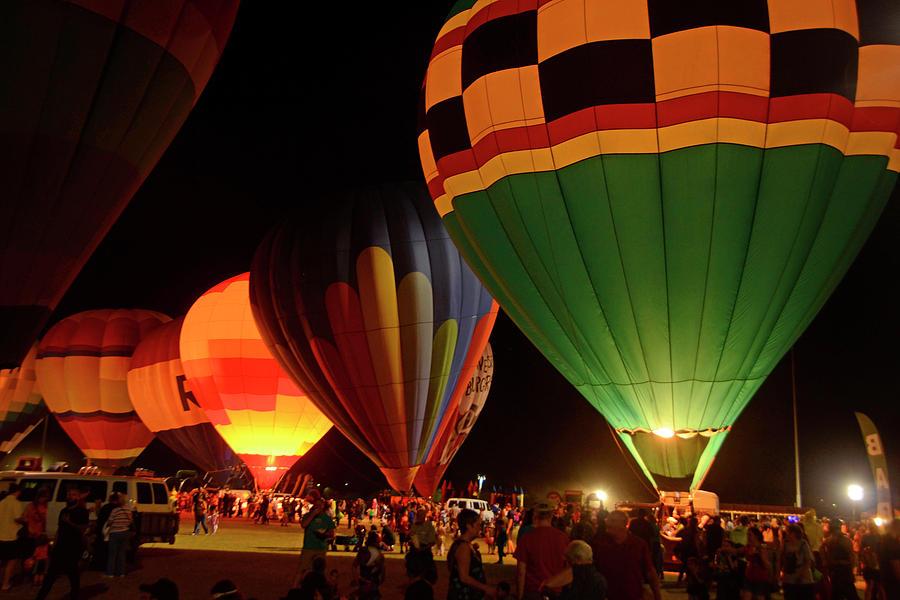 Balloons Photograph - Hot Air Balloons At Night October 28, 2017 #2 by Brian Lockett
