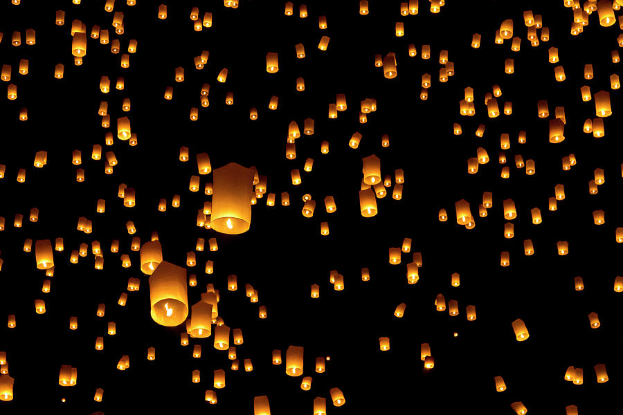 Horizontal Photograph - Hot Air Lanterns In Sky by Daniel Osterkamp