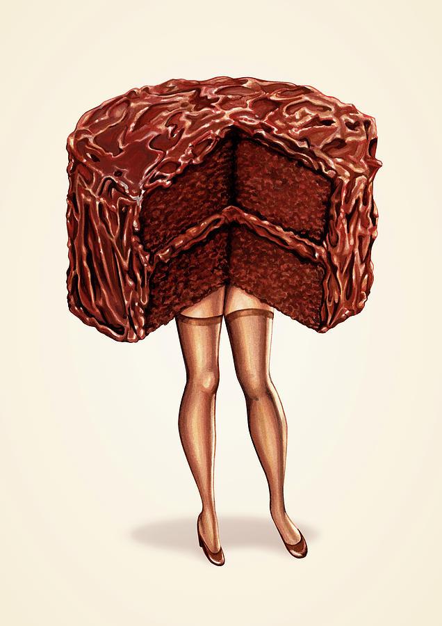 Food Painting - Hot Cakes - Devils Food by Kelly Gilleran