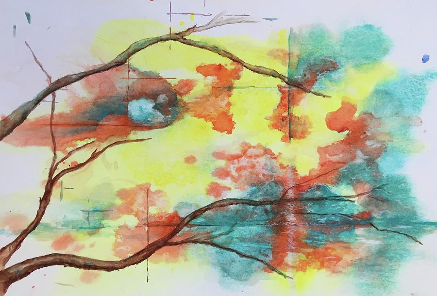 Aqua Painting - Hot Canyon Winds by Nina Bryant