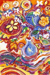 Flowers Painting - Hot Flowers by Debra LaBar