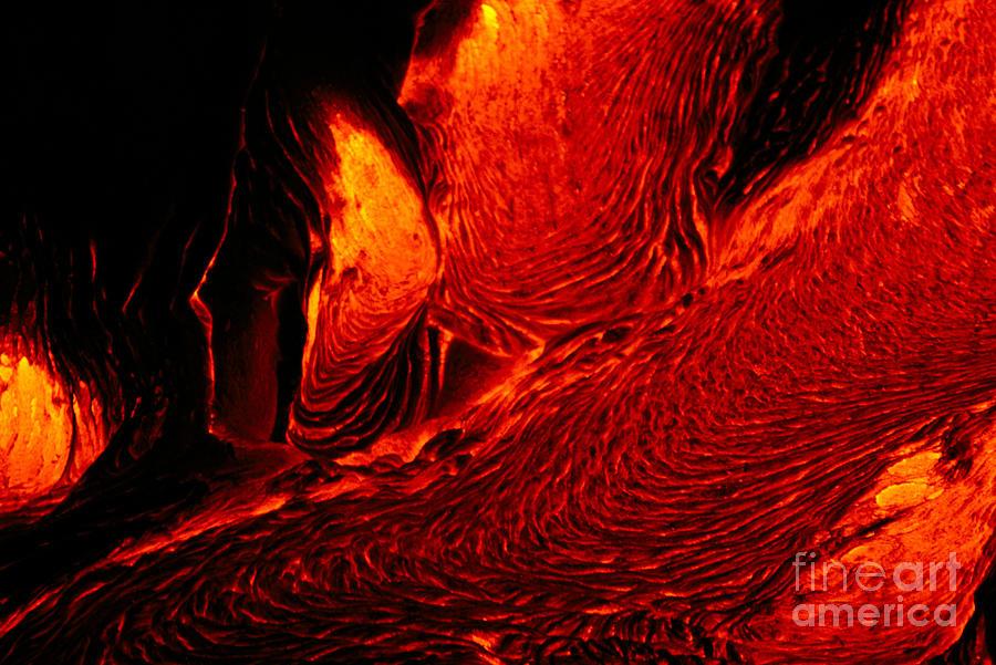 A28h Photograph - Hot Flowing Lava by Bob Abraham - Printscapes