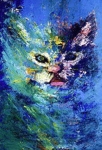 Cat Painting - Hot Lips by Lolly Owens