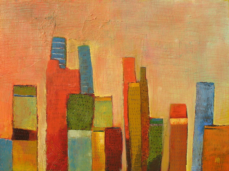 Abstract Cityscape Painting - Hot Manhattan by Habib Ayat