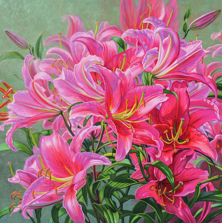 Hot pink asiatic lilies painting by fiona craig lily painting hot pink asiatic lilies by fiona craig izmirmasajfo
