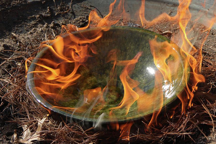Fire Photograph - Hot Raku by Heidi Brandt