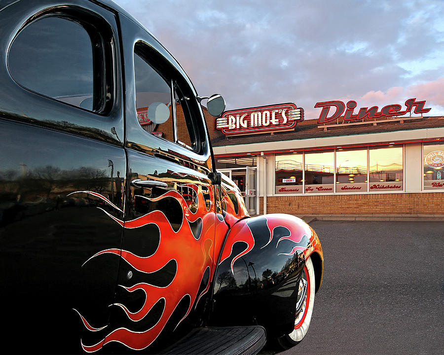 Hotrod Photograph - Hot Rod At The Diner At Sunset by Gill Billington