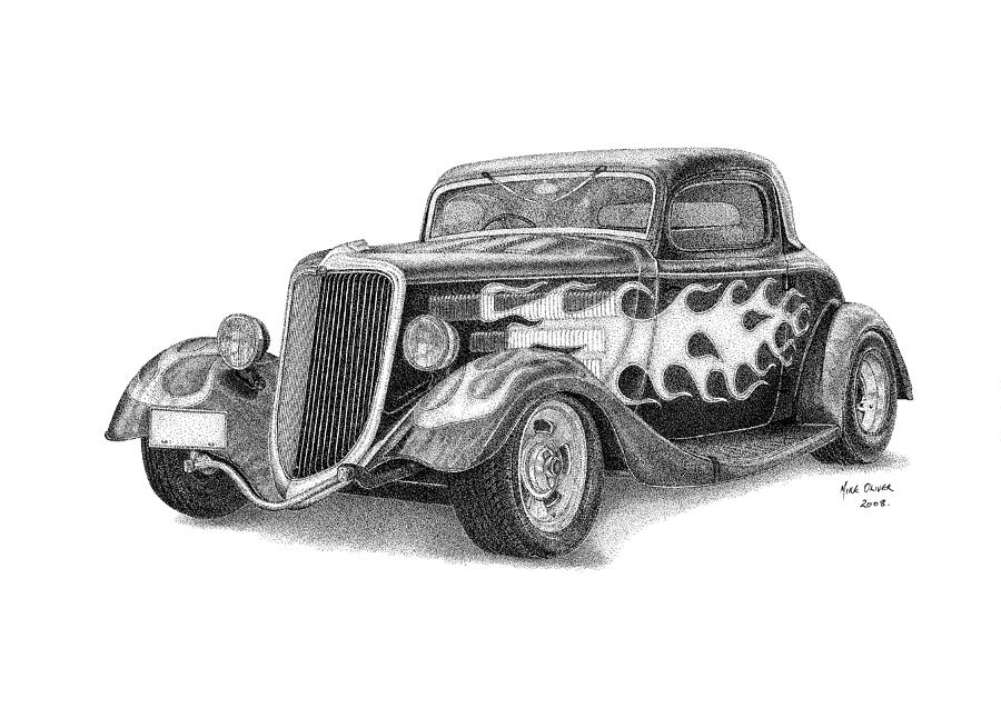 Hot Rod Drawing Pointallism Drawing By Mike Oliver