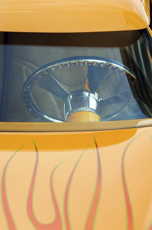 Hot Rod Photograph - Hot Rod Steering Wheel 2 by Jill Reger