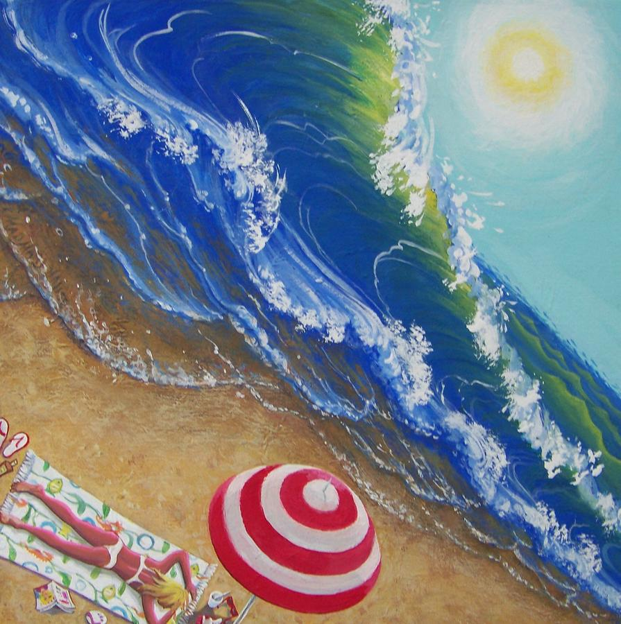 Beach Painting - Hot Time In The Summer Sun by Marjorie Hause