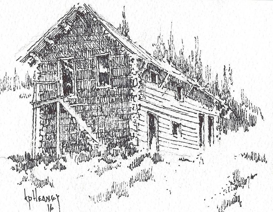 Ghost Town Drawing - Hotel Red Lion Ghost Town Montana by Kevin Heaney