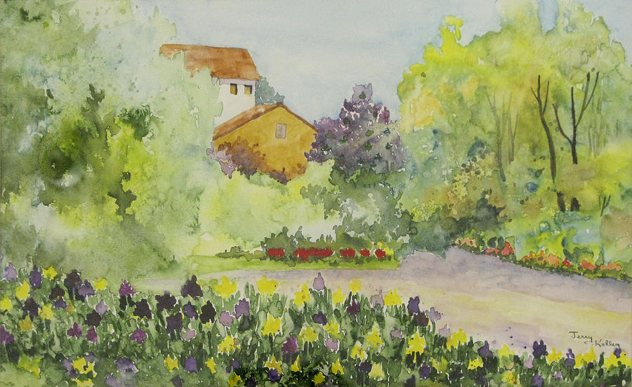House Painting - House And Garden by Jerry Kelley