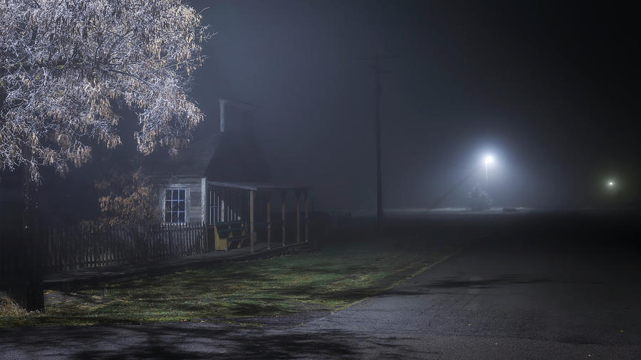 Night Photograph - House At The End Of The Road by Cat Connor