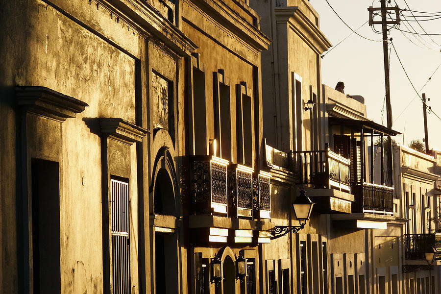 Architecture Photograph - House Facades Gilded By The Setting Sun Old San Juan Puerto Rico by George Oze