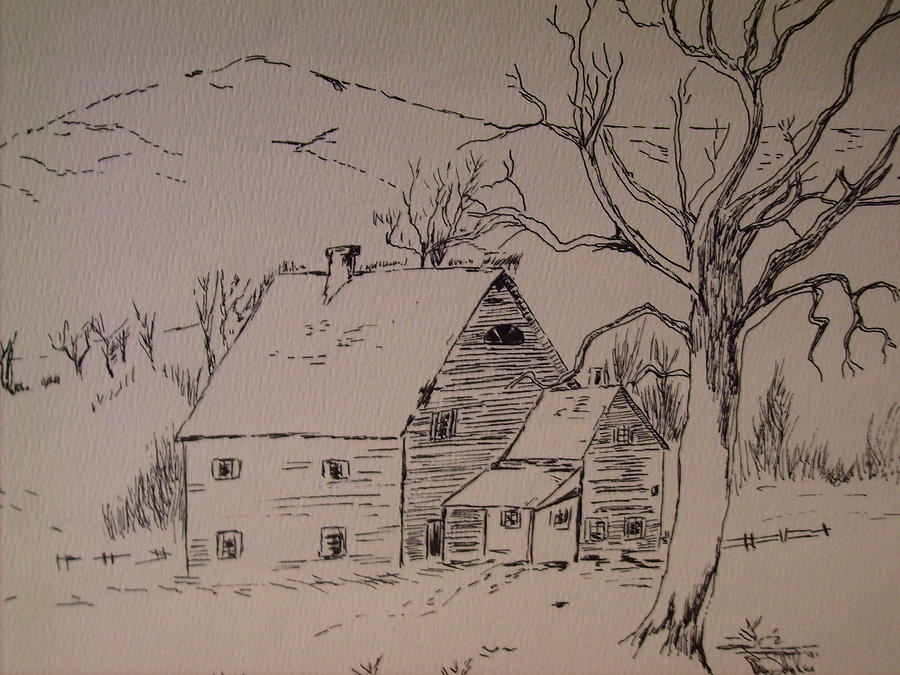 Landscape Drawing - House In Snow by Karen Salley-Rice
