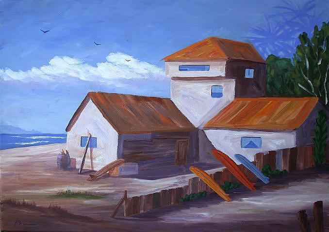 Bob Phillips Surf Art Painting - House In Sunset Beach by Bob Phillips