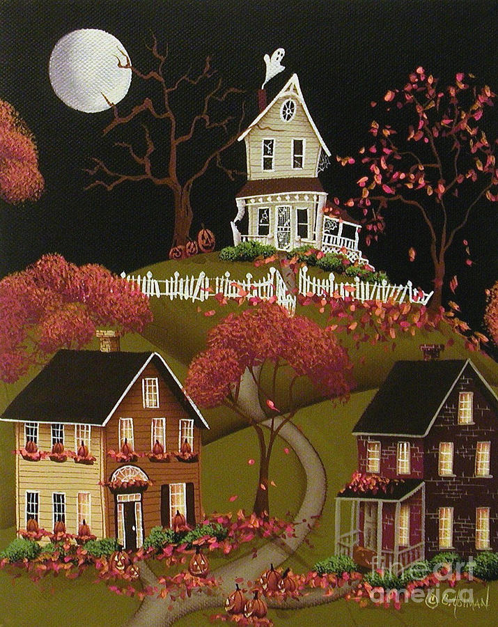 Art Painting - House On Haunted Hill by Catherine Holman