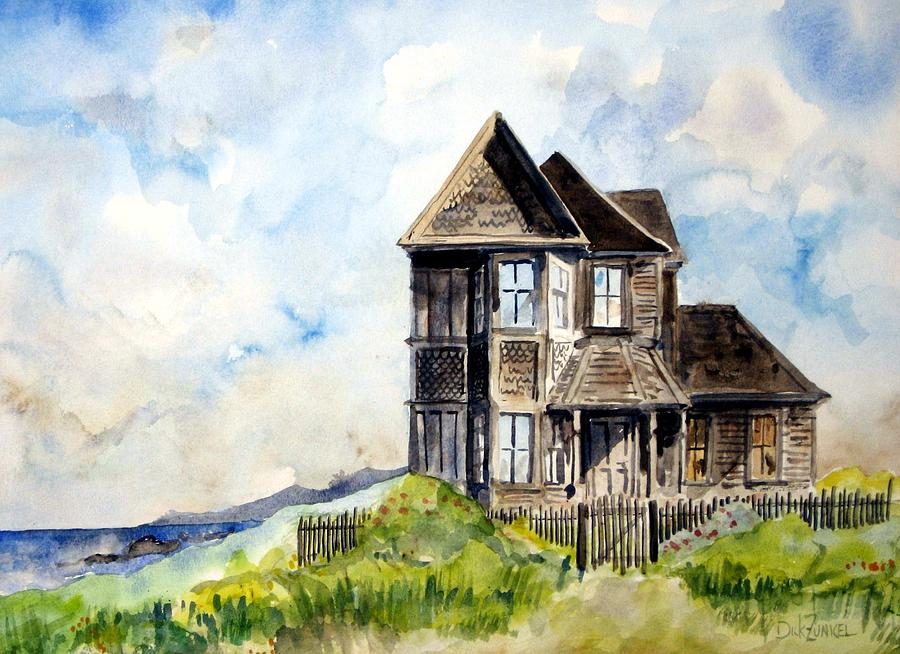 Watercolor Painting - House On Little Lake Street Mendocino by Richard Zunkel