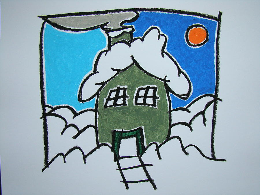 Oil Pastel Pastel - House On The Edge Of Town by Pat  Lackenbauer