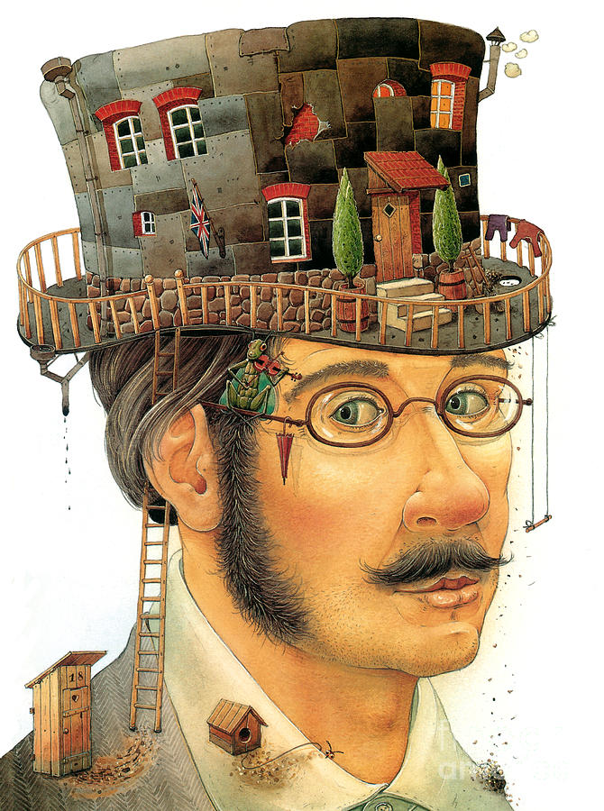 House On The Hat Painting by Kestutis Kasparavicius