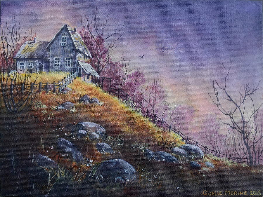 Landscape Painting - House On The Hill by Studio Giselle
