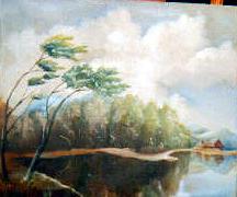 Landscape Painting - House On The Lake by Sergey Bezhinets