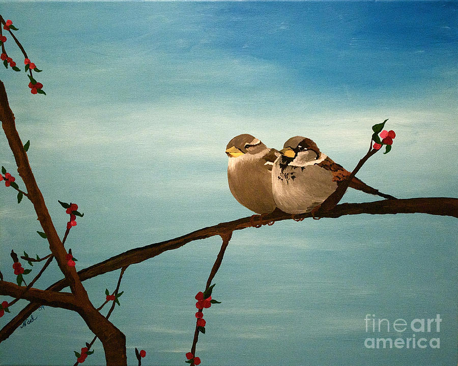 House Sparrow Painting - House Sparrows On A Branch by Becka Noel