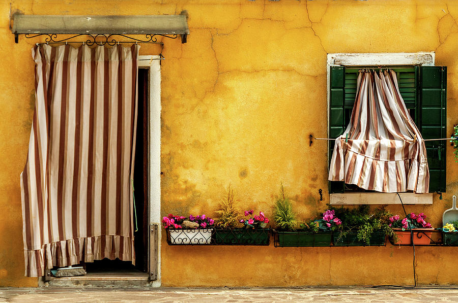 House With Drapes Burano Italy Photograph - House With Drapes Burano Italy by Xavier Cardell