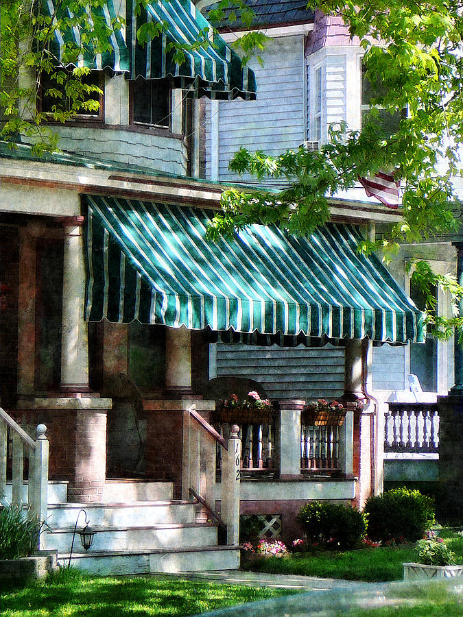 Porch Photograph - House With Green Striped Awnings by Susan Savad